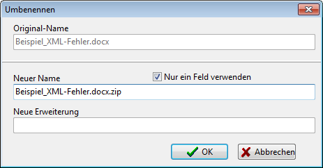 Umbenennen in .docx.zip